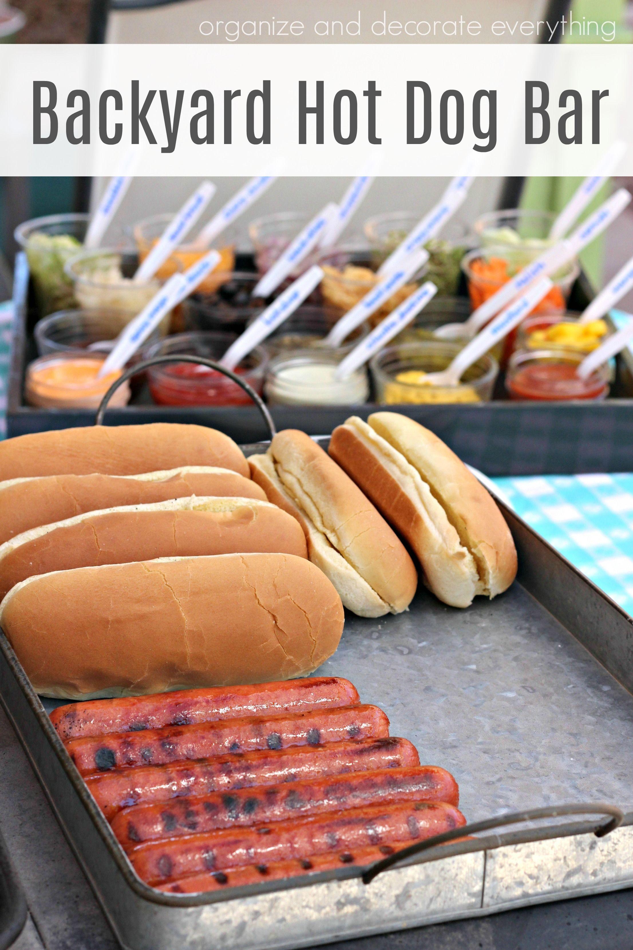 Backyard hot dog bar party food buffet hot dog bar