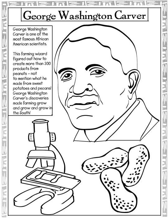 George washington carver new years pinterest black for Free black history coloring pages
