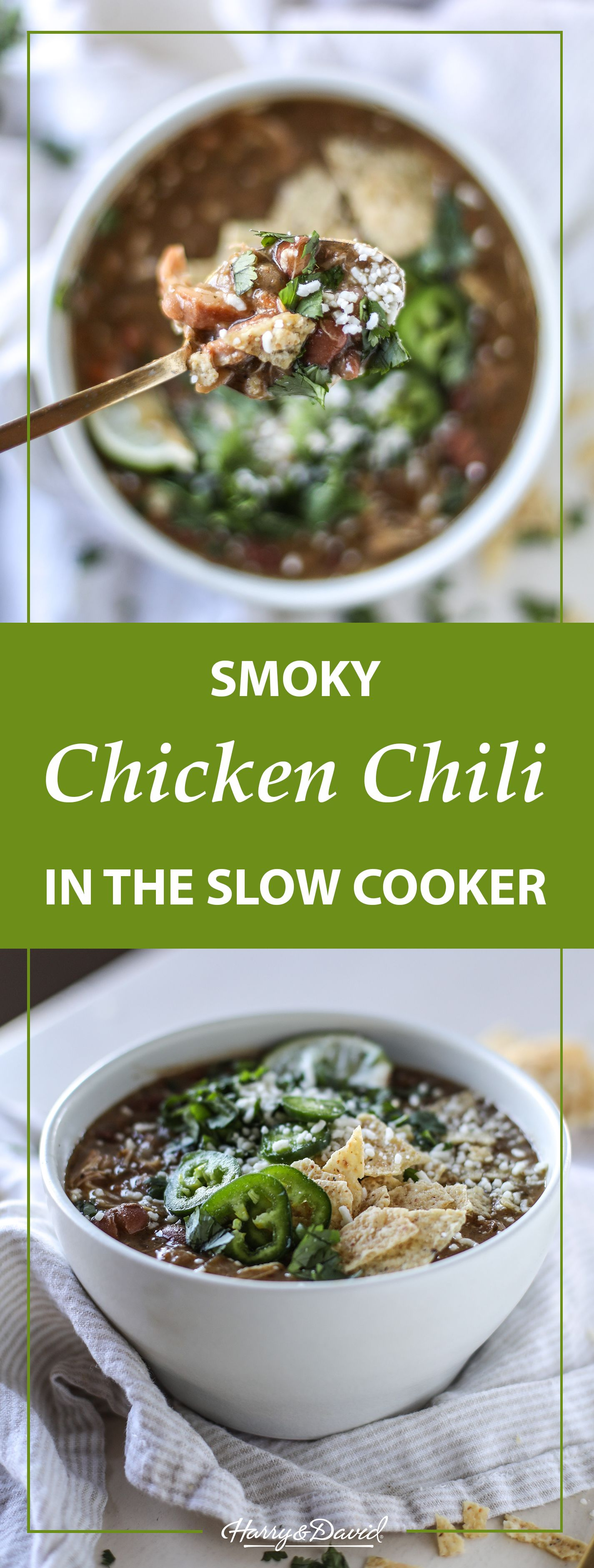 Smoky, Creamy Slow Cooker Chicken Chili at your service. This recipe hits the spot for anyone looking for a warm, hearty meal. Easy to make, and easy to enjoy.