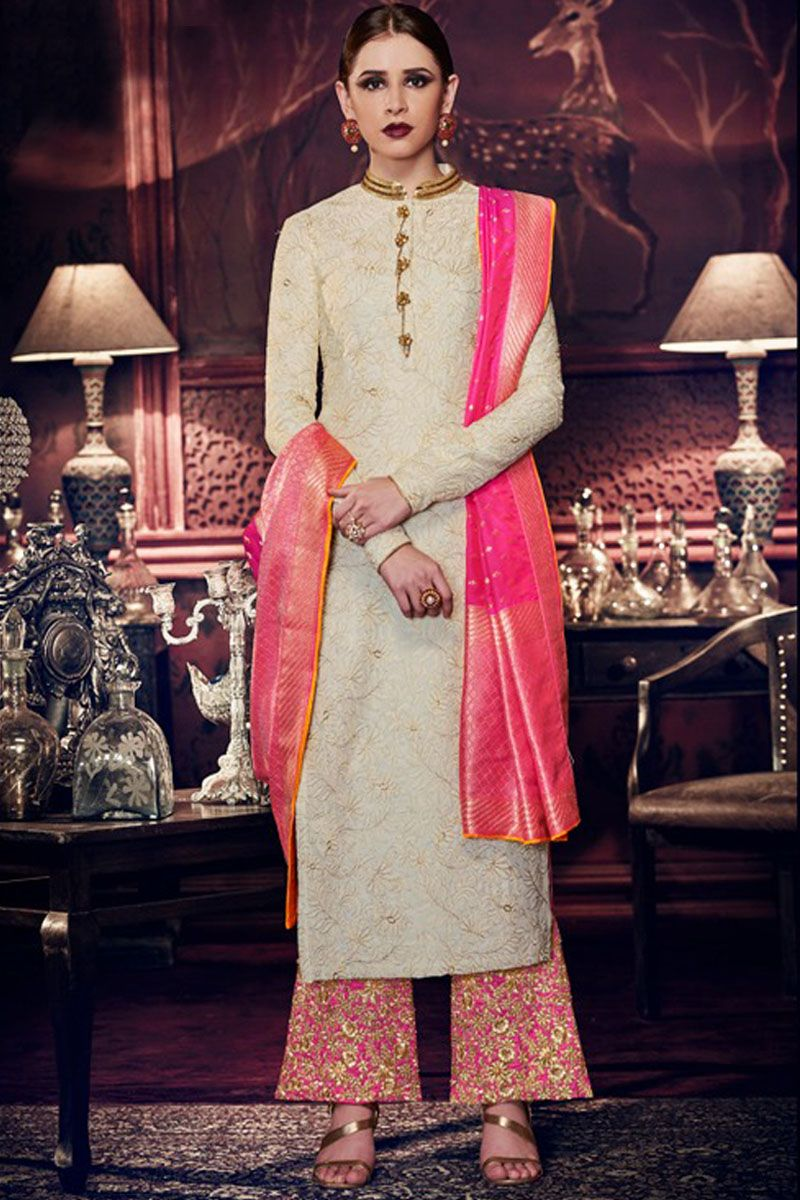 cad5eb6320 Off White Color Tussar Silk Fabric Embroidered Designer Occasionally Party  wear Indian Women Style Fancy Bridal Plazzo Style Salwar Suit #nakkashi ...
