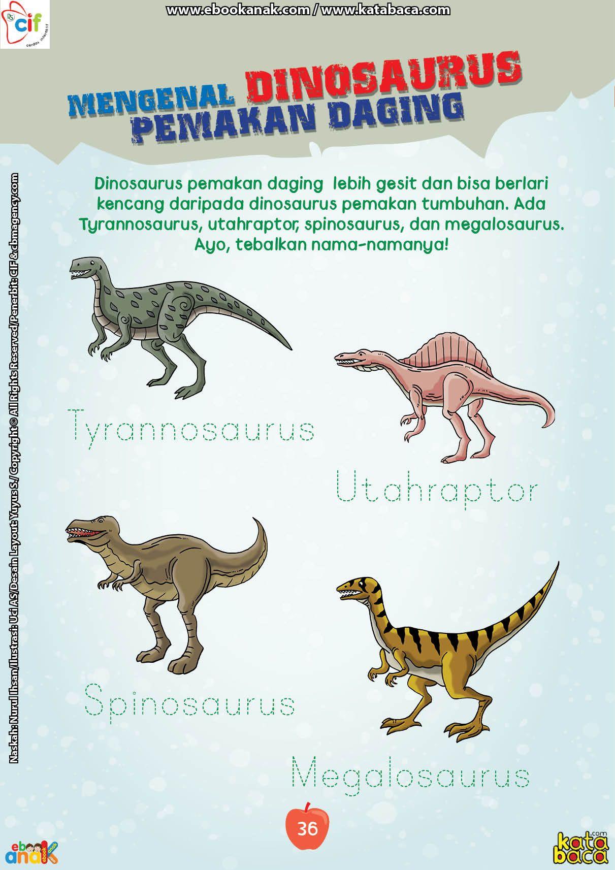 Inilah Daftar Nama Nama Dinosaurus Pemakan Daging Dinosaurus Buku Anak Buku Pelajaran
