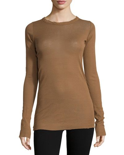 RICK OWENS Long-Sleeve Ribbed T-Shirt, Henna. #rickowens #cloth #