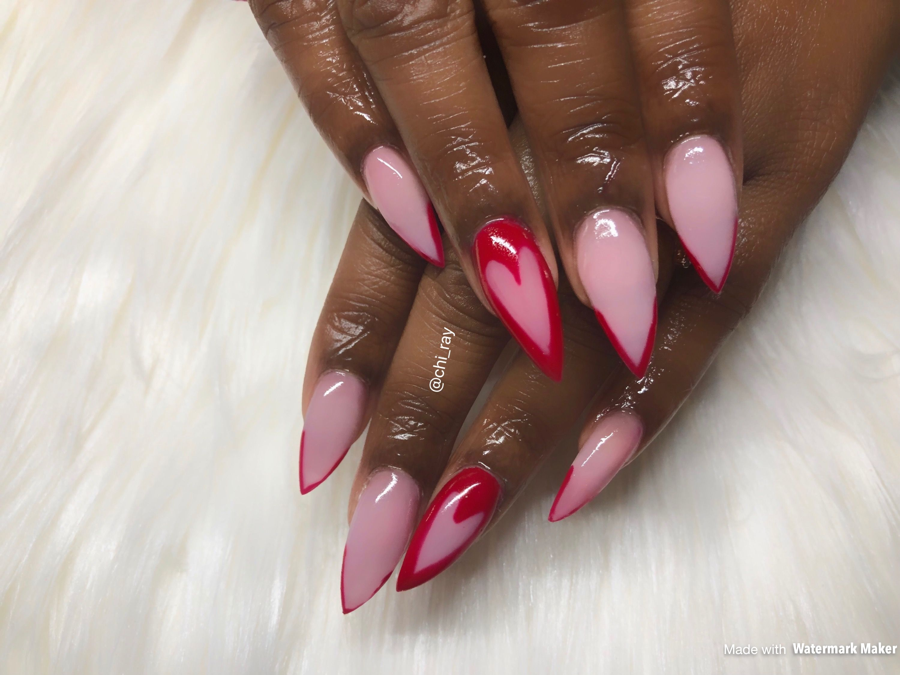 Valentine S Day Nails Stiletto Nails Pink And Red Negative Space