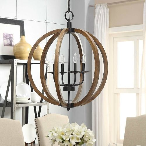 Rustic Ceiling Light Rustic Light Fixture Rustic Wood: Rustic Orb Chandelier Wood Globe Pendant Light Sphere Lamp