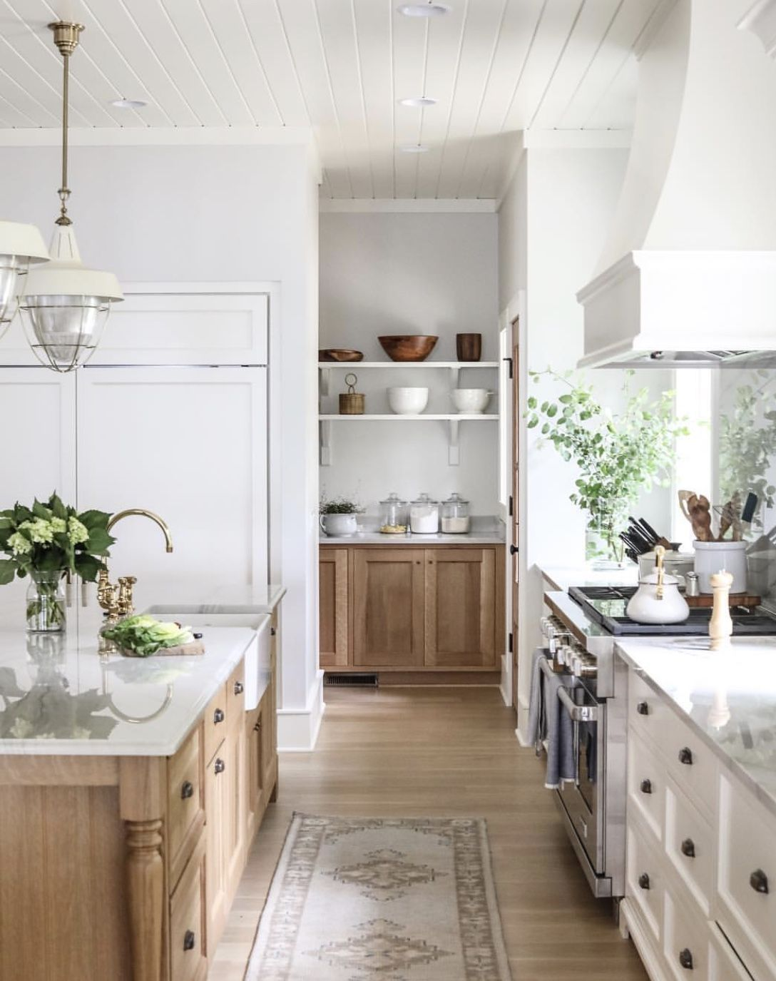 Trend We Re Loving Two Toned Kitchens Farmhouse Living White Cabinets Natural Wood Island Home Decor Kitchen Kitchen Interior Interior Design Kitchen