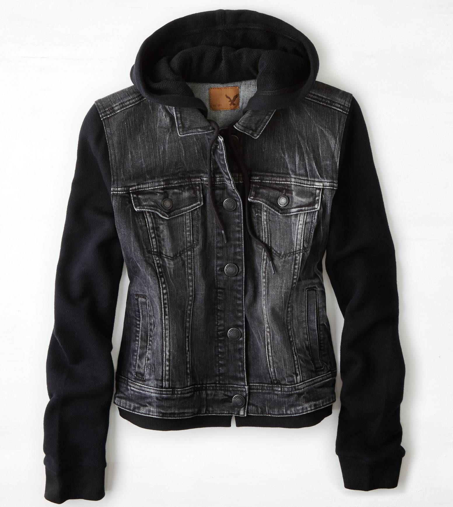 Aeo Denim Vested Hoodie Black American Eagle Outfitters Black Denim Vest Hoodie Vest Denim Hoodie [ 1739 x 1553 Pixel ]
