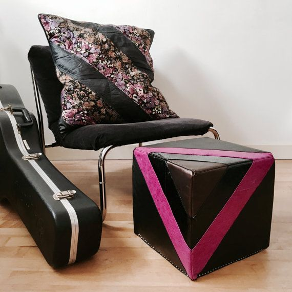 Leather Footstool Quilted Leather Pouf In In Black And Fuchsia