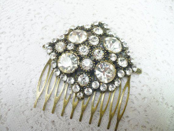 Vintage RHINESTONE Art Deco Hair Comb  Silver by ElegantiTesori, $89.99