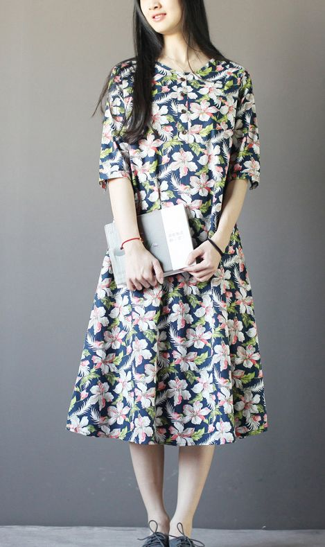 b328cc792de Half sleeve print cotton maxi dress summer plus size casual sundress ...