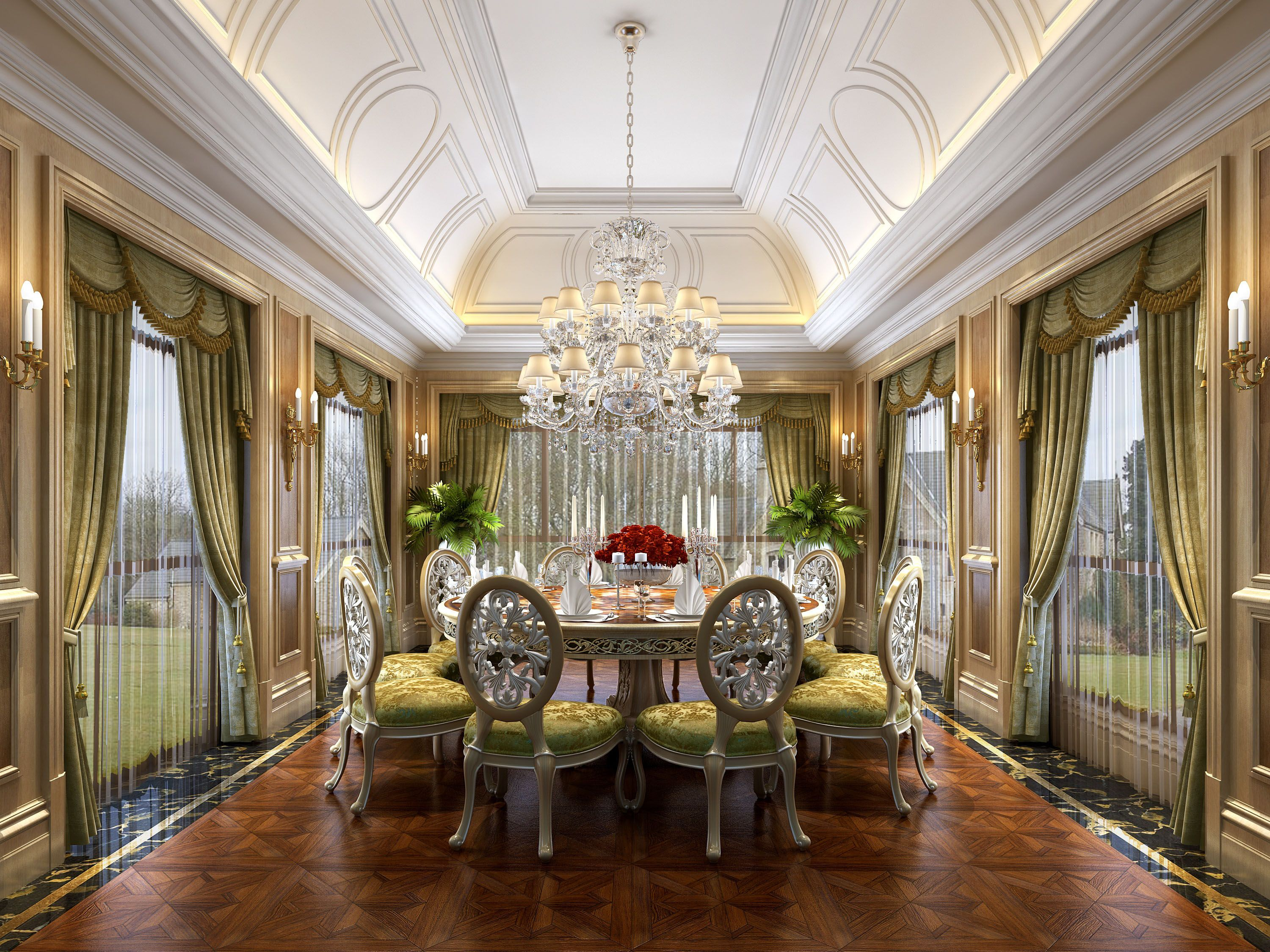 Pin By Fire Xiang On 法式 Luxury Interior Dining Room