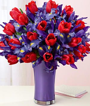 My Lovable Color Combination Iris Flowers Red Tulips Online Flower Delivery