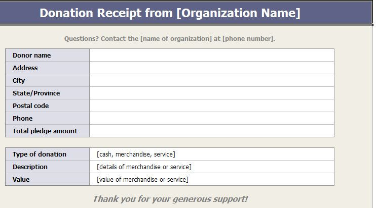 You Can Use A Charitable Donation Receipt Template To Keep Track Of