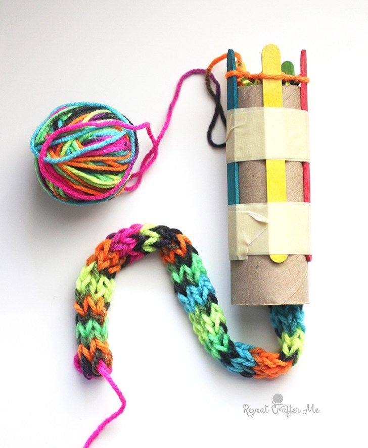Photo of Cardboard Roll Snake Knitting – Repeat Crafter Me