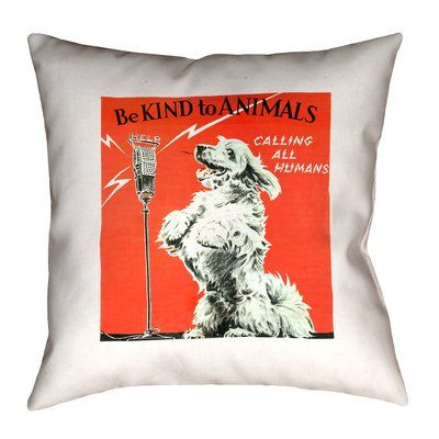 Enciso Vintage Animal Kindness Double Sided Print Pillow