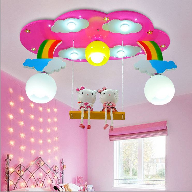 Modern Cartoon Ceiling Light Kids Bedroom Bulb Light Fittings Led Lamp For Children Room Lighting Girl S Room Pin Room Lights Pink Girl Room Kids Room Lighting