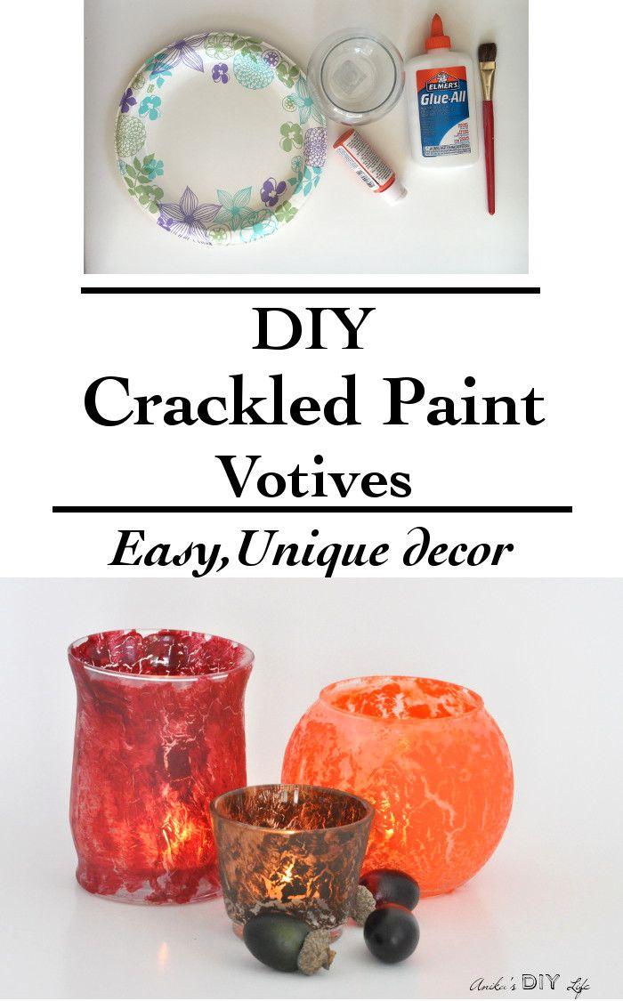 DIY Crackled Paint Votives - Anika's DIY Life