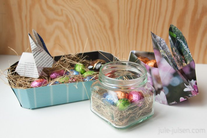 diy easter baskets: paper basket made from upcycled fruit bowl, easter nest in an old marmelade jar, origami easter basket