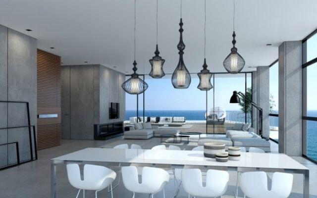 einrichtungsideen mit kontrasten-in farbe und material-loft stil, Wohnideen design