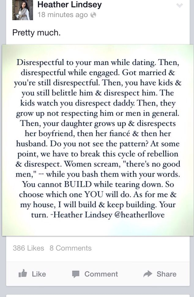 Same Goes For Men Disrespecting Women The Disrespect Has To Stop