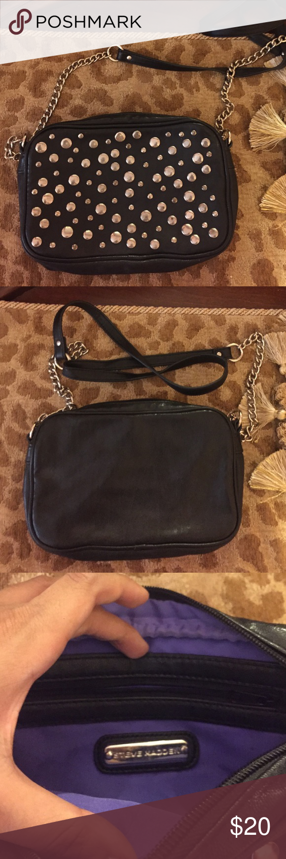 Excellent Condition Steve Madden Cross Body Studded Steve Madden cross body bag. Steve Madden Bags Crossbody Bags