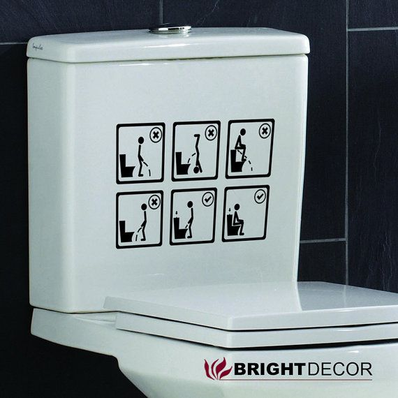 Funny Toilet Peek Sign Sticker: Toilet Decal Wall Art Wallpaper Instructional By