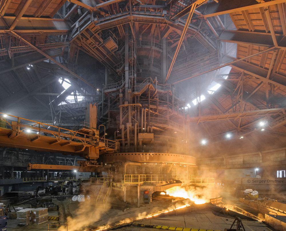 Tapping the blast furnace #6 at Novolipetsk steel plant  The furnace