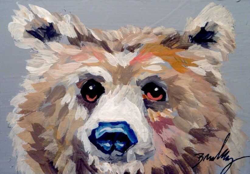 ACEO Limited Edition-Roaring bear Animal art print of an original watercolor