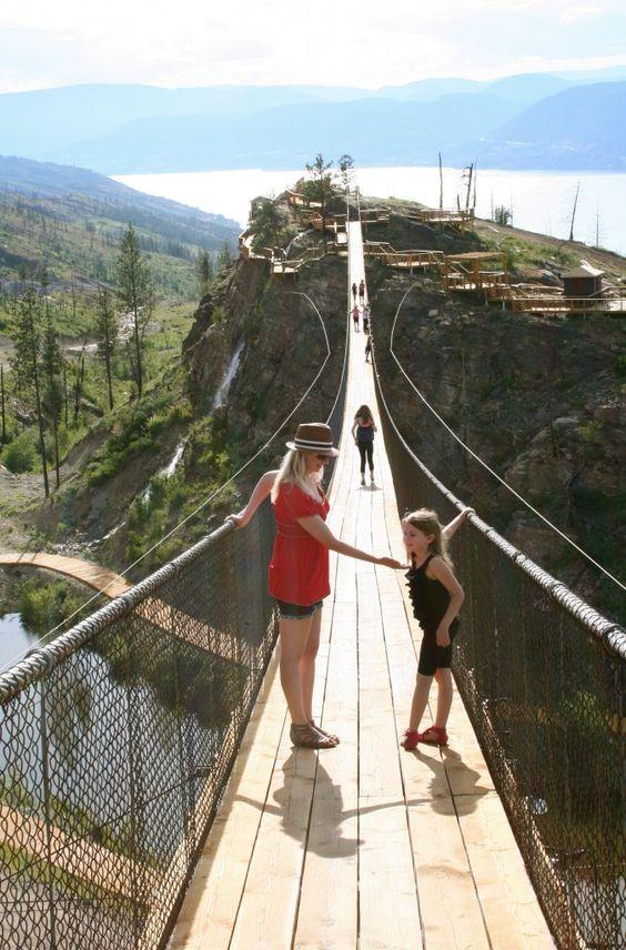 bridges that have long drop | Kelowna Mountain Suspension Bridges