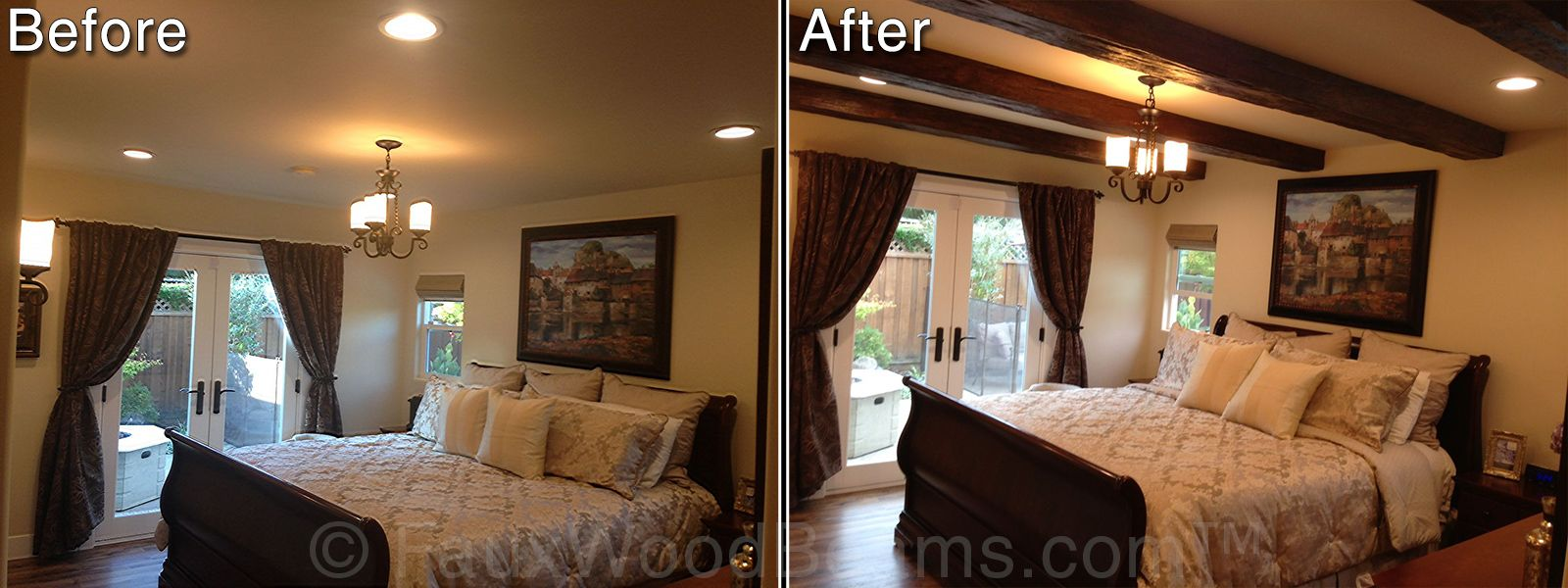 Before And After Picture Of A Bedroom Design With Imitation Wood Beams Installed Condo