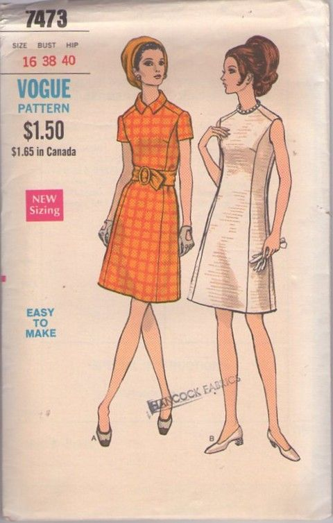Vogue 7473 Vintage 60\'s Sewing Pattern AWESOME Easy Angular Mod ...