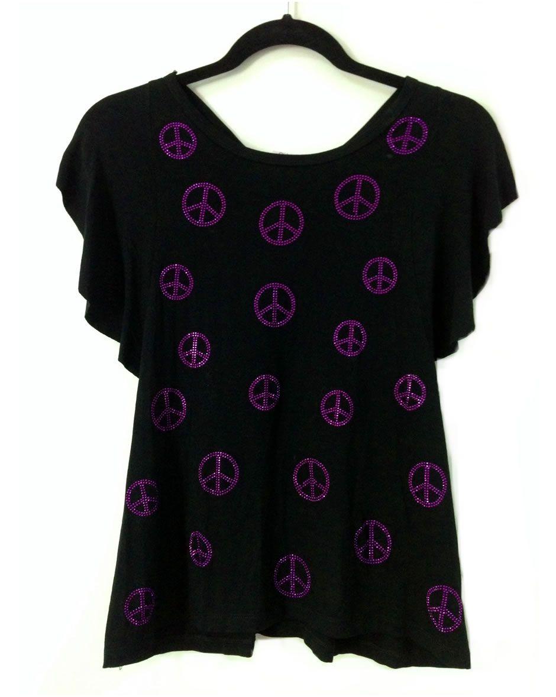 Camisa modelo borboleta en tela de visco negra con bling mini signos de la paz