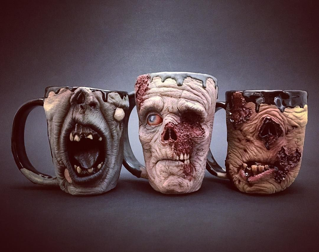 extraordinary mug design. The American ceramist Kevin Turkey Merck has specialized in highly  realistic sculptures and offers a collection of pretty gory mugs inspired by zombies Zombie all done just time for Thanksgiving