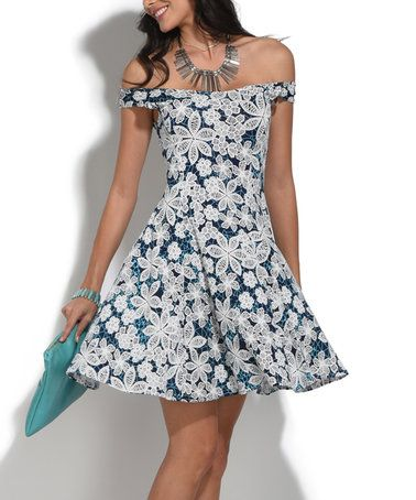 dccb363dcd23 Love this Navy Blue   Turquoise Floral Off-Shoulder Dress on  zulily!   zulilyfinds