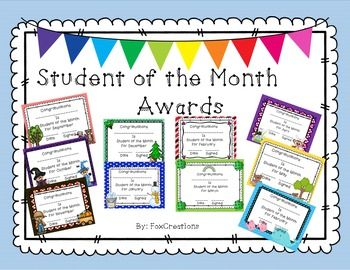 student of the month award certificates education student