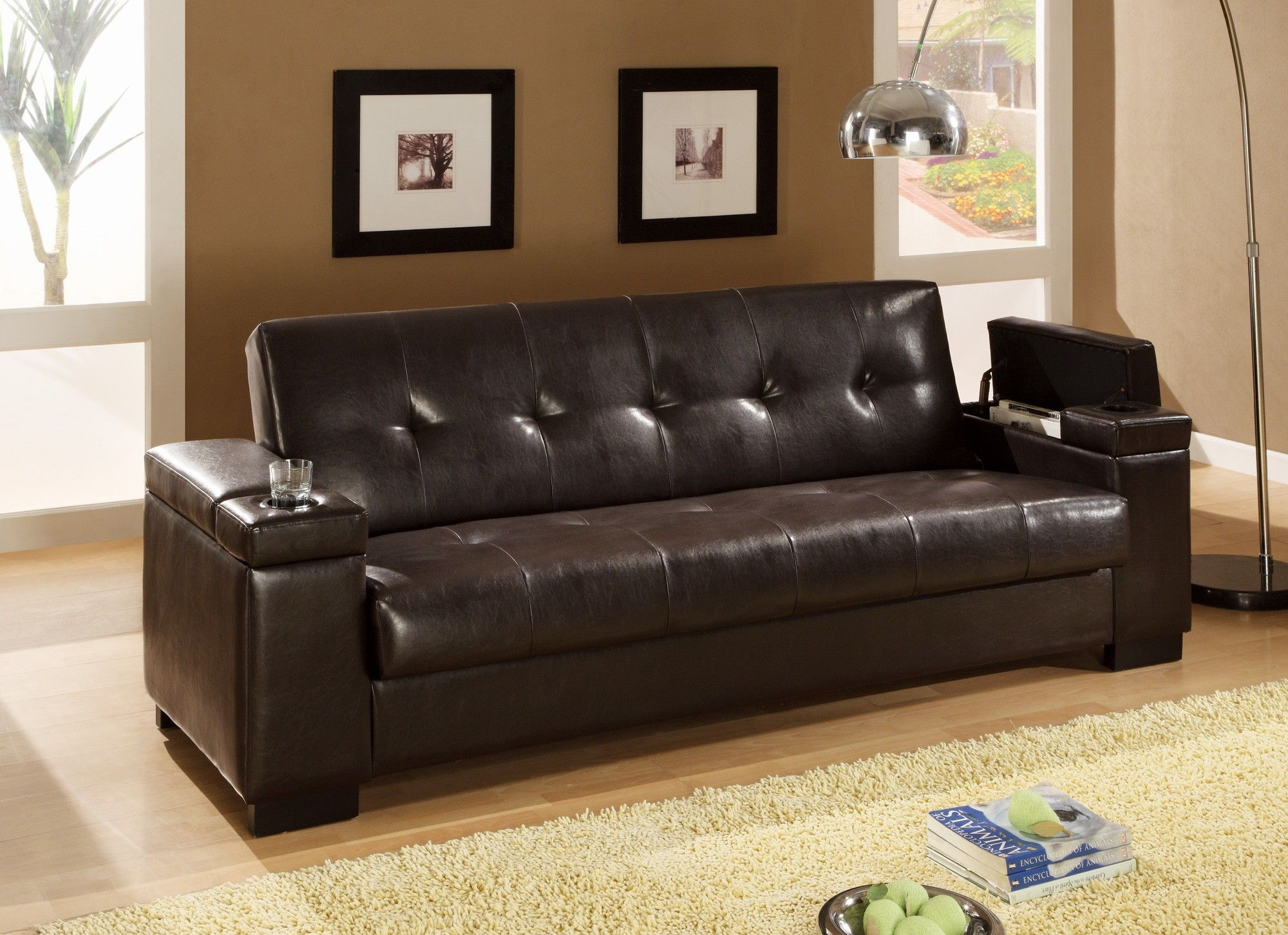 Faux Leather Convertible Sofa Sleeper With Storage And Cup Holders