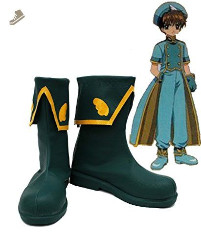 SAKURA Syaoran Li Cosplay Shoes Boots Custom Made Dark Green