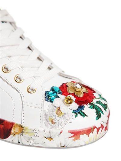 Dolce & Gabbana 20MM EMBELLISHED LEATHER SNEAKERS BkERT6Xg