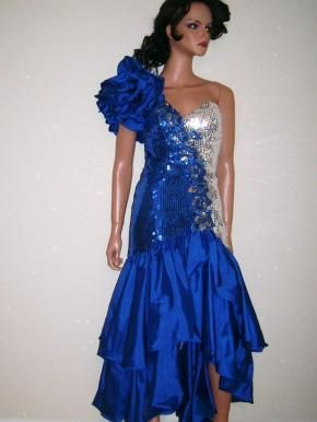 80s Alyce Designs Blue And Silver Sequins Prom Party Dress 40th