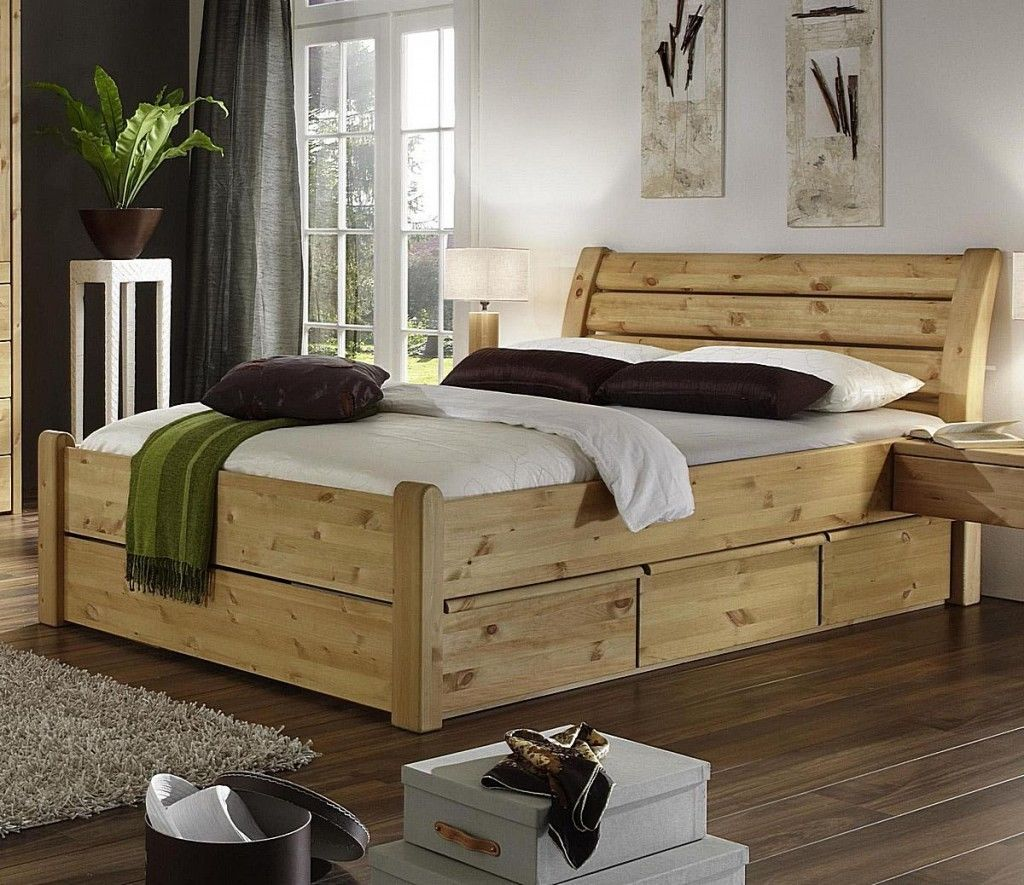 doppelbett 200x200 mit 6 schubladen schubkasten bett holz kiefer massiv gelaugt in m bel. Black Bedroom Furniture Sets. Home Design Ideas