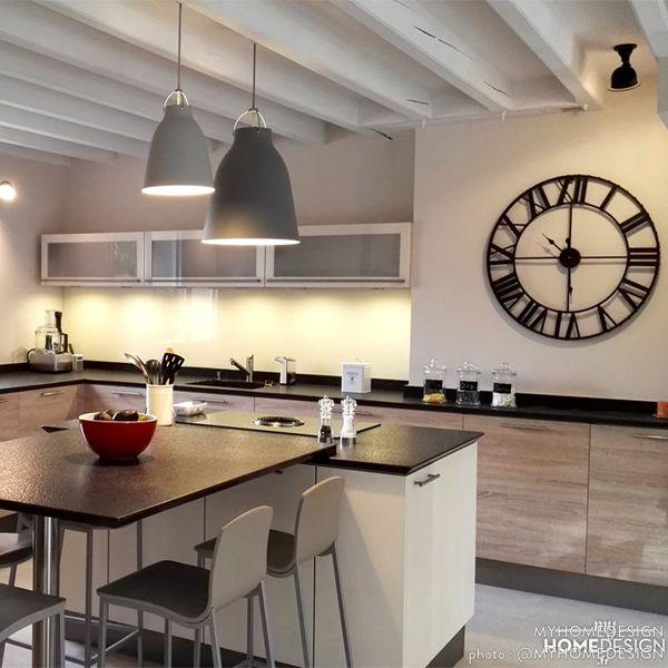 Visite Déco  Maison revisitée à lu0027esprit campagne chic - deco maison cuisine ouverte