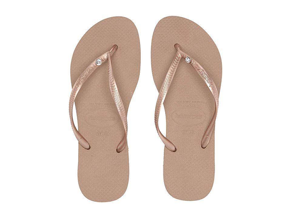 9b3017cc1289 Havaianas Slim Crystal Glamour SW Flip Flops (Rose Gold Rose Gold Metallic)  Women s