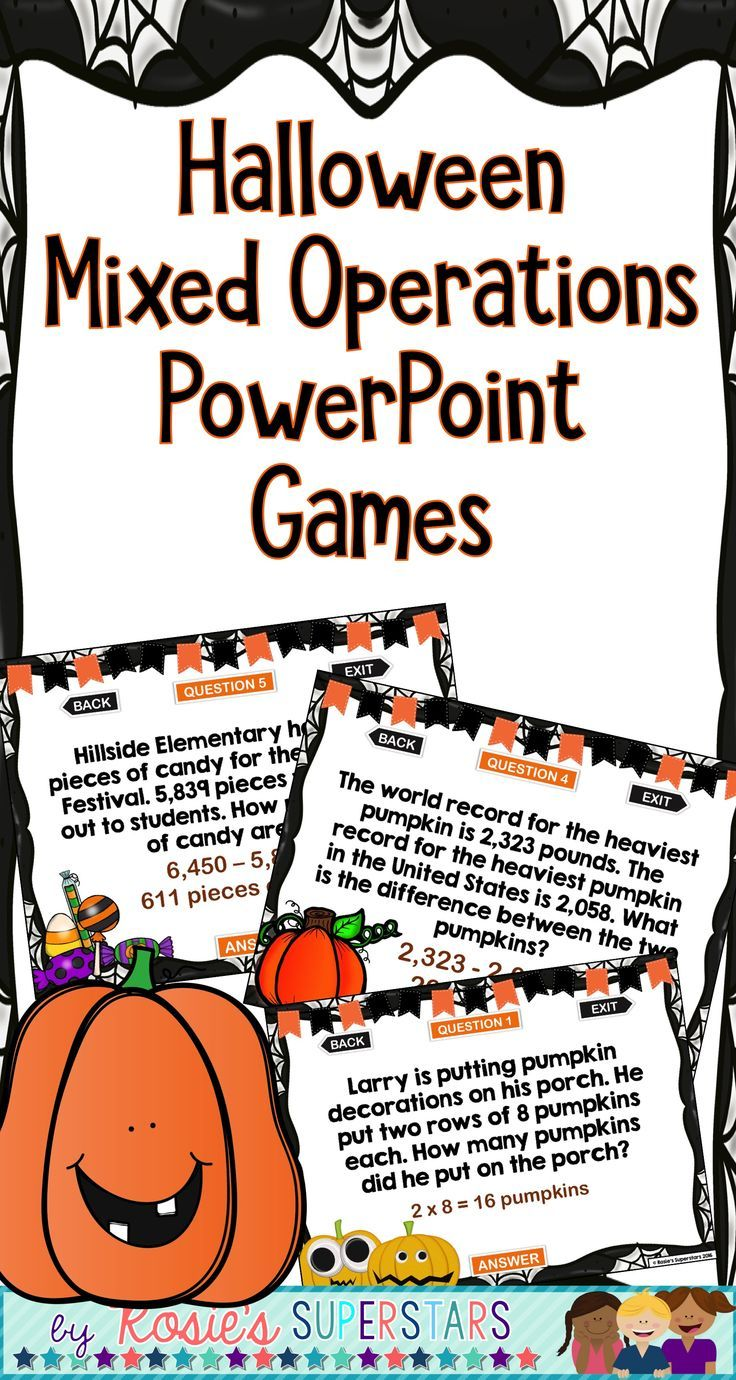 halloween math word problems powerpoint games: mixed operations