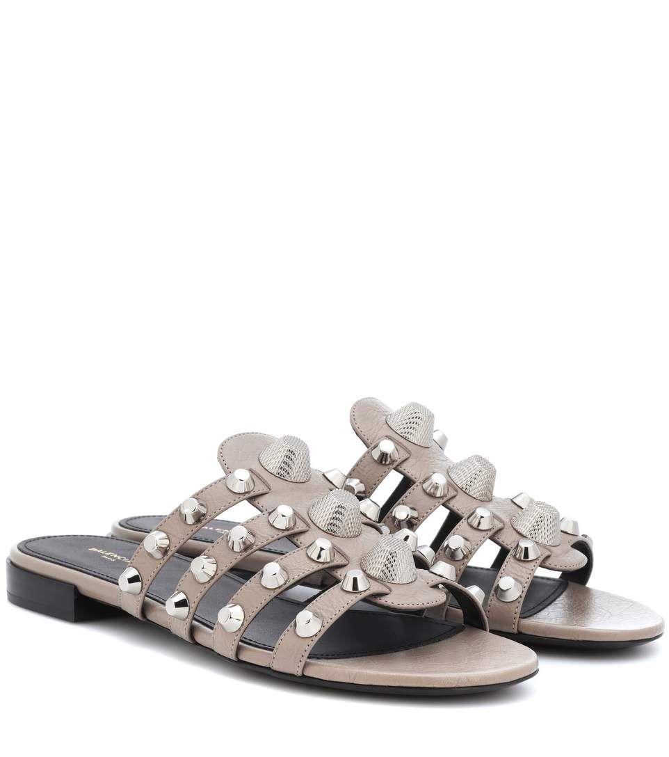 Balenciaga Arena Leather Sandals In
