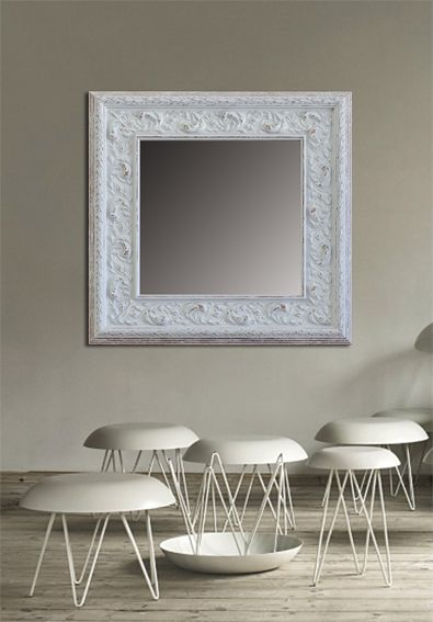 espejo marco madera espejo sin bisel marco madera lacada blanco grabado y rascado decapado ancho