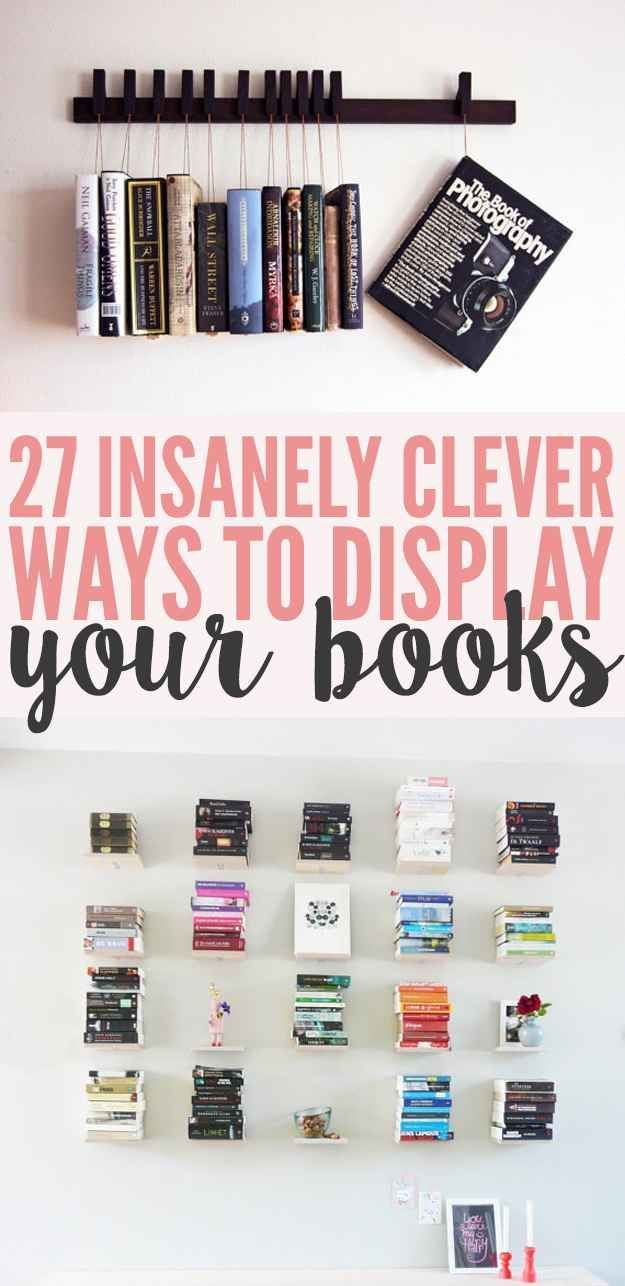 27 insanely clever ways to display your books diy how. Black Bedroom Furniture Sets. Home Design Ideas