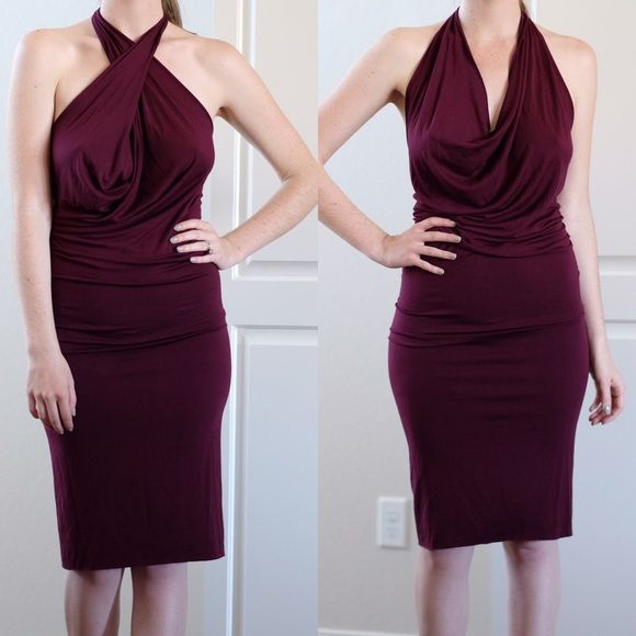 Rachel Pally cowl halter dress M Burgundy Rachel Pally jersey dress size M. Super soft and stretchy fabric. Can be worn two different ways as shown in the first photo. Seen on Jessica Simpson! New with tags and never worn. Rachel Pally Dresses Backless