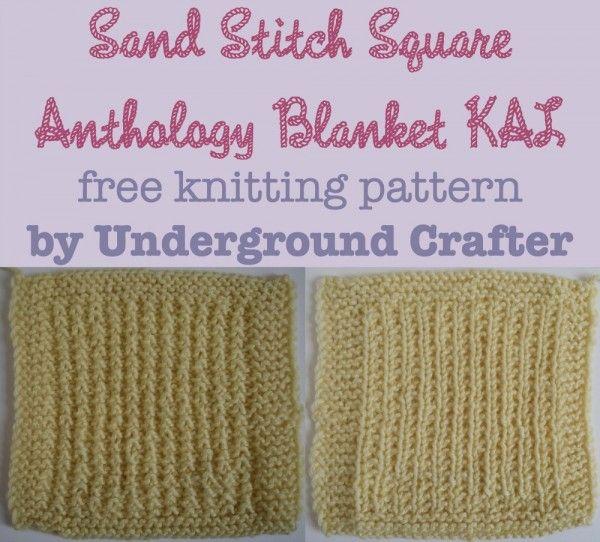 Sand Stitch Square Free Knitting Pattern Knitting Squares Square