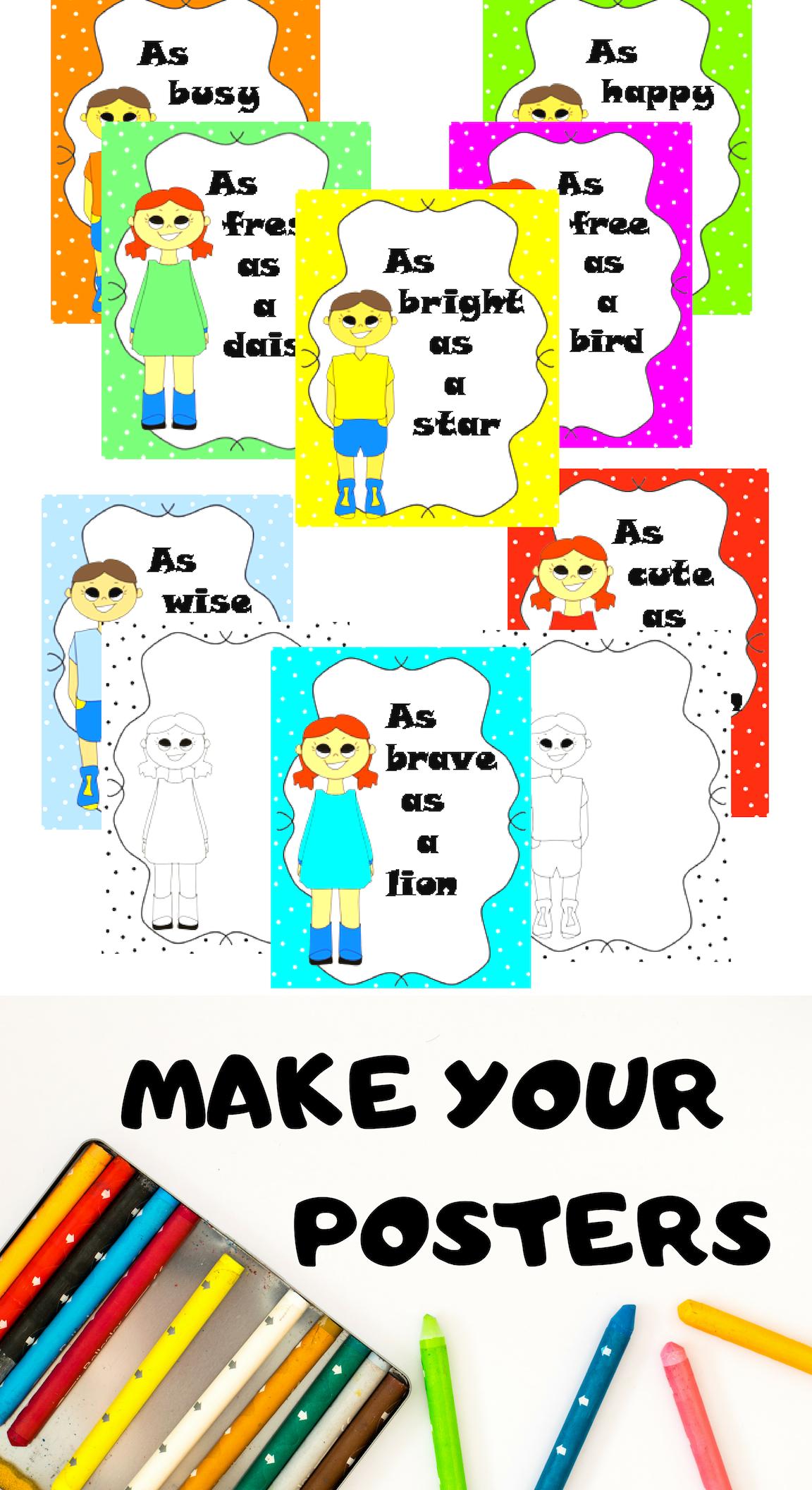 Polka Dot Figurative Language Posters Similes