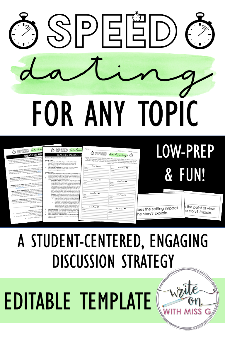 Speed Dating For Any Topic Editable Template Engaging Activity Discussion Strategies Speed Dating Teaching Strategies