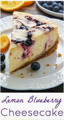 foodrink: Lemon Blueberry Swirl Cheesecake #lemonblueberrycheesecake